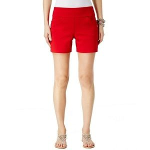 INC Shorts 0 Petite Pull On Real Red Studs NEW